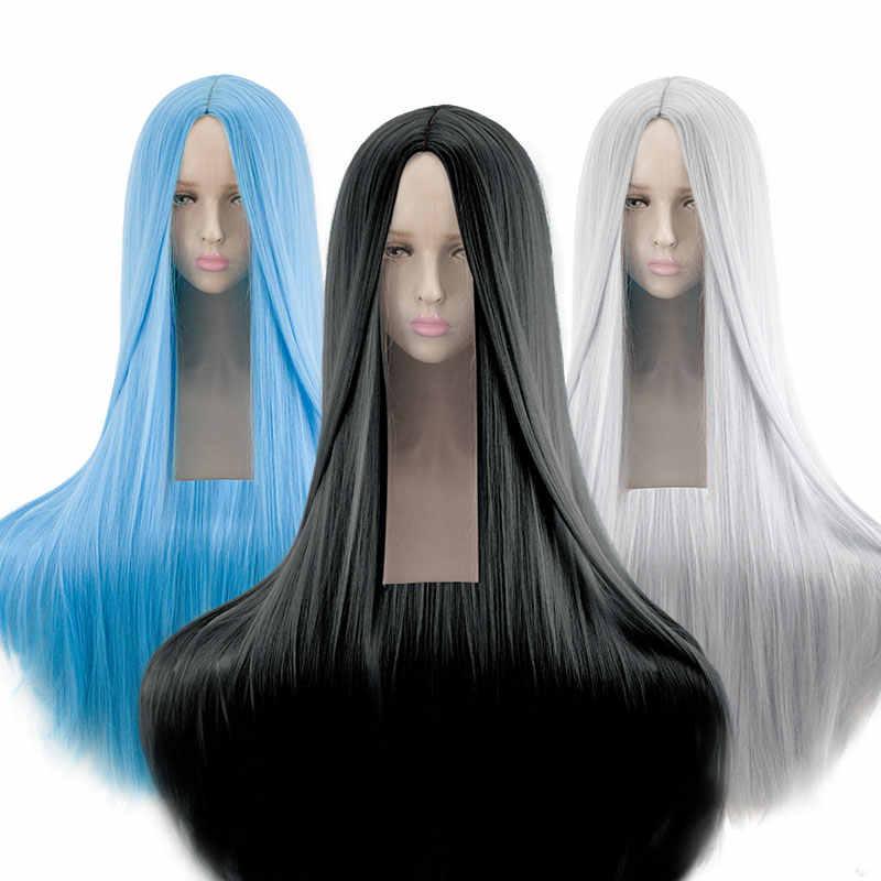 Ailiade Kleurrijke Lange Pruik 100 Cm 40 Inches Synthetische Hittebestendige Vezel Halloween Carnaval Kostuum Cosplay Straight Vrouwen Haar