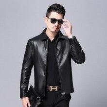 Huagongzi spring and autumn leather coat men's Lapel Haining sheepskin middle age big size loose father coat leather jacket