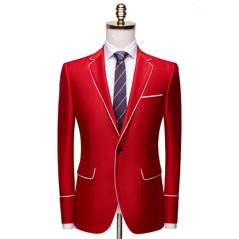 Brand Men's Casual White Red Suit Jacket Plus Size 4XL Wedding Slim Fit Men Blazer Stage Costumes For Singers Costume Homme