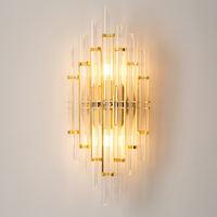 Nordic Postmodern Led Walllamp Simple Living Room Bedroom Wall Sconce Lamp Bathroom Loft Bed Aisle Crystal Bedside Wall Lighting
