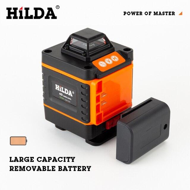 HILDA 12/16 линии 3/4D лазерный уровень самонивелирующийся 360 горизонтальный и вертикальный 4