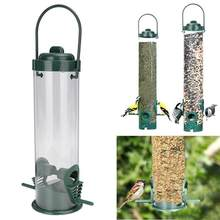 Tipo de suspensão ao ar livre animal estimação sementes de pássaro alimentador comida árvore jardim lanches balde titular alimentador aves ao ar livre comederos para aves