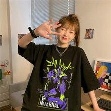 Evangelion Shingeki No Kyojin Men's and Women's T-shirts Tshirt Women Vintage Ulzzang Kawaii Print Top Tees T Shirt Aesthetic