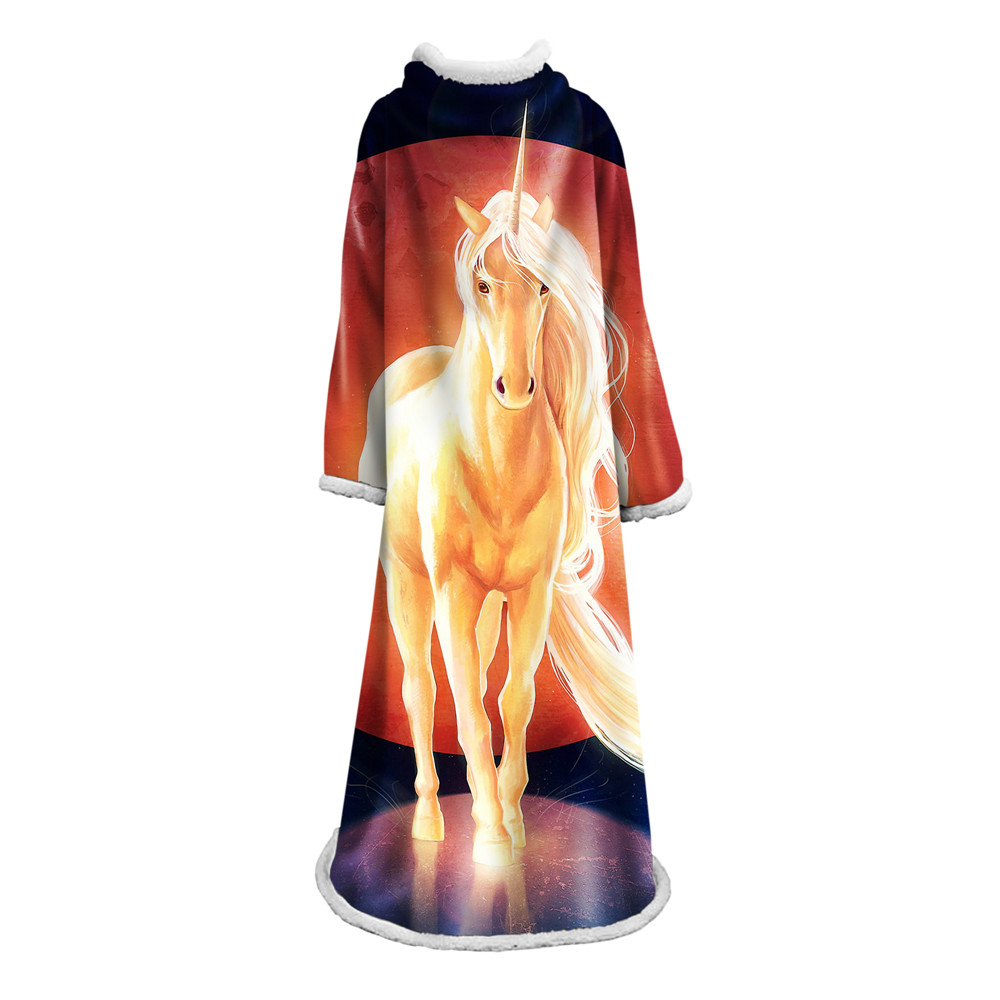 Wolf Print Sleeve Beds Blanket Soft Sherpa Fleece Plush Bedclothes Dreamcatcher Throw cobertor With