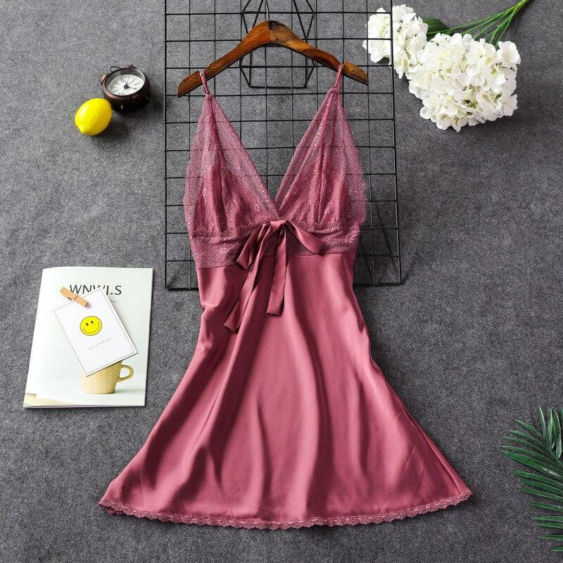 Женский пикантный Шелковый Атласный ночной халат ночная рубашка без рукавов Кружевное платье для сна Ночные сорочки с острым вырезом Ночная рубашка модная пижама ночное белье - Цвет: Bean paste