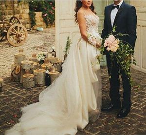 Image 4 - Smileven Wedding Dress Cap Sleeves White Ivory Bride Dresses Train Elegant Wedding Bridal Gowns 2019