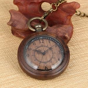 Image 3 - New Fashion 2019 Wooden Pocket Watch Full Wood Case Quartz Movement Antique Bronze Pendant Necklace Chains Gifts Men Women