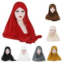 12PCS Scarf Hat Head Wrap Islamic Muslim Hijab Headscarf Women Scarves Headwear Instand Shawl Hijabs Hooded Cap Random Color