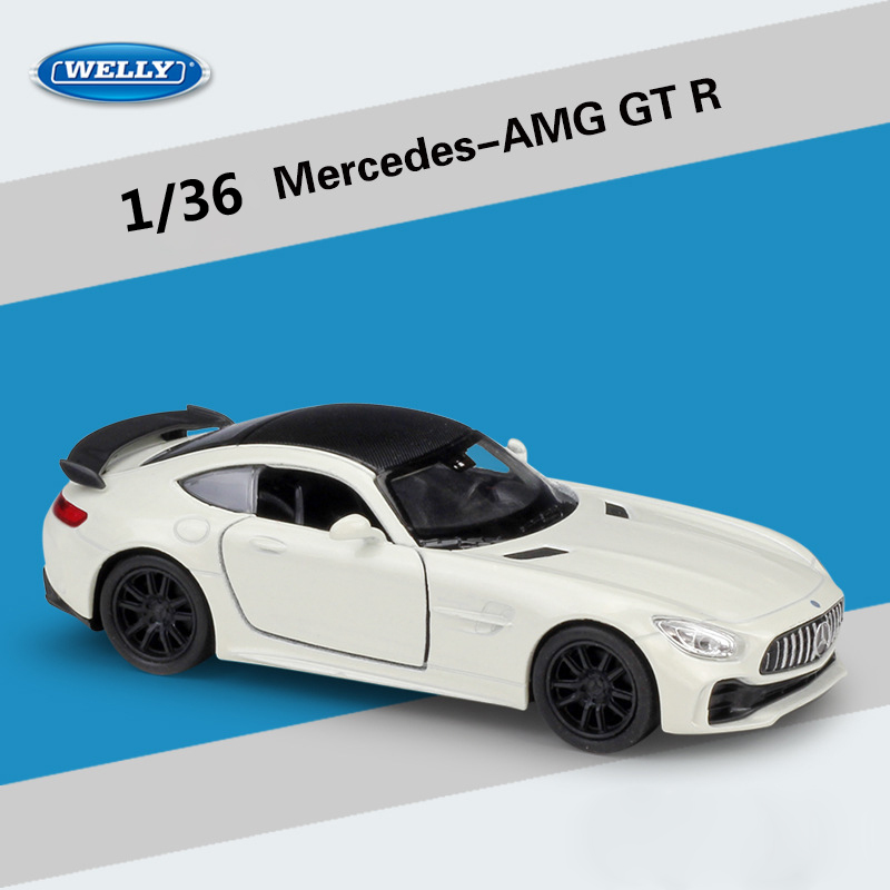 WELLY Diecast 1:36 Scale Simulator Mercedes-AMG GT R Sports Car Pull Back Car Model Car Metal Alloy Toy Car Kid Gifts Collection