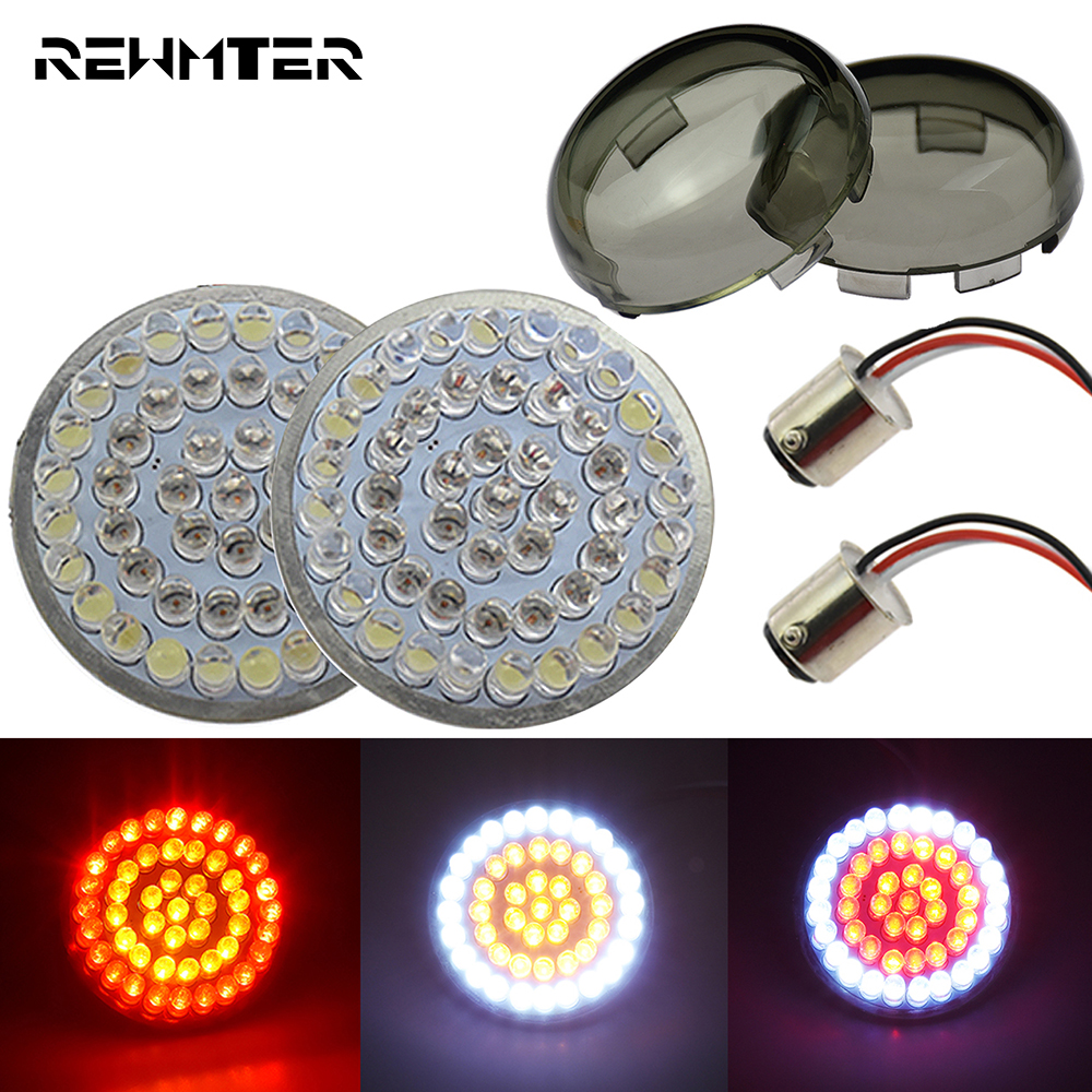 Motorcycle Bullet Turn Signal Indicator Light Lamp 1157 LED Inserts Light For Harley Touring Sportster Dyna Softail XL 48 72