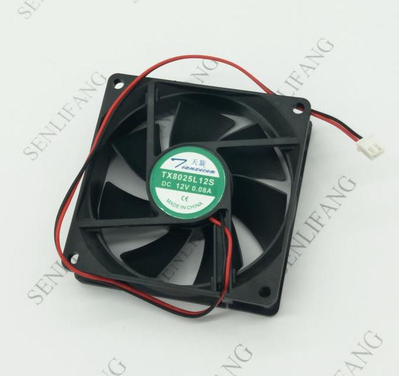 NEW TX8025L12S DC 12V 0.08A 8025 8cm 80*80*25mm Ultra Quiet Cooling Fan 2 Wires