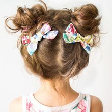 2Pcs/Pair Baby Girls Floral Print Hair Bow Alligator Clips Candy Color Pigtails Ponytail Decorative Hairgrip Birthday Barrettes