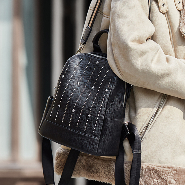 ZOOLER Diamond Bag100% Genuine Leather Black Women's Backpacks First Layer Cowhide Winter Backpack Young Girls Travel Bag#C209