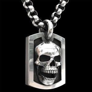 CHUHAN модное винтажное ожерелье с подвеской в виде черепа для мужчин и женщин, готический стиль, хип-хоп, металлический череп, длинное ожерель...