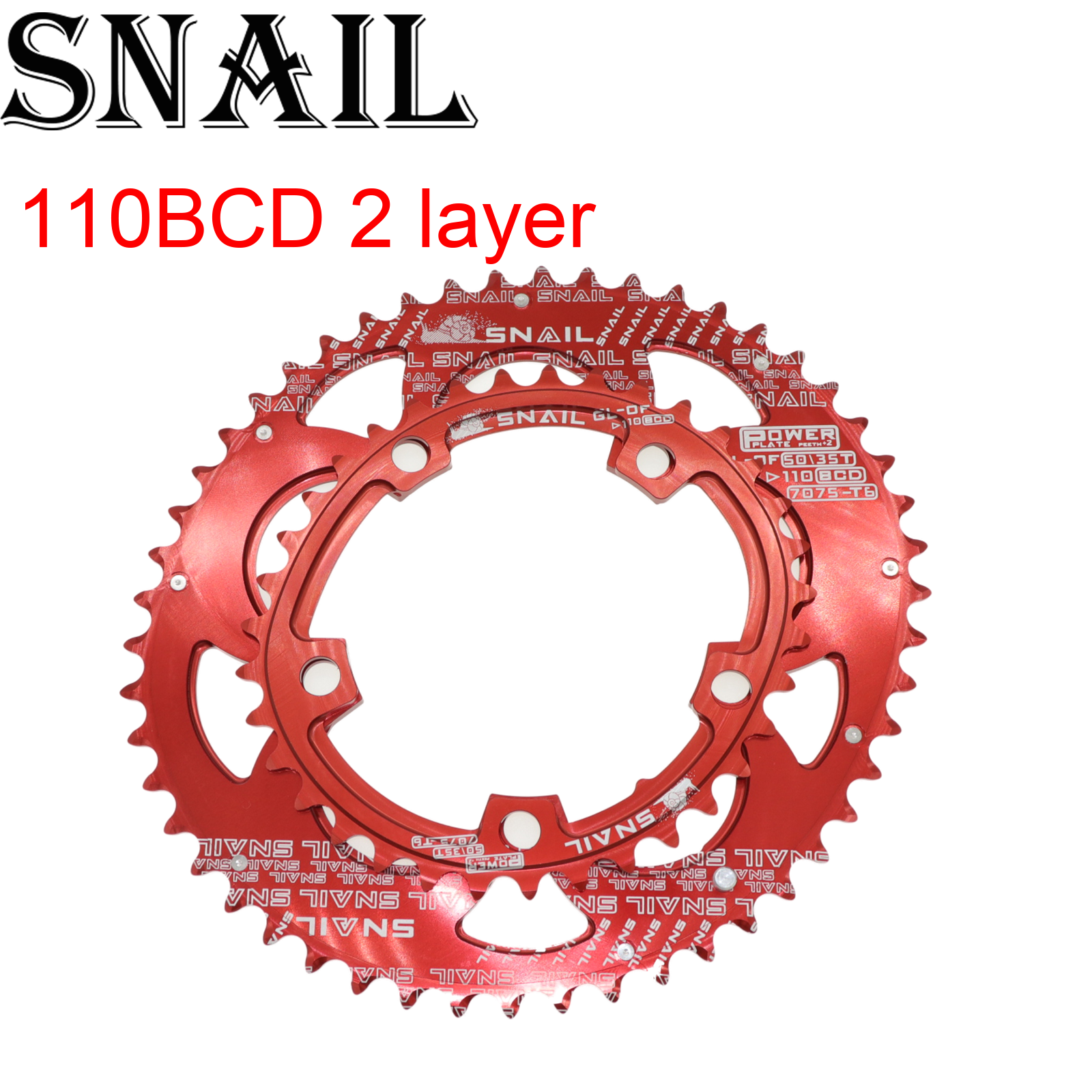 Snail <font><b>110</b></font> <font><b>BCD</b></font> Double <font><b>Chainring</b></font> 2 layer speed <font><b>Oval</b></font> 50t 35T for Shimano Cycling Road Folding Bike Ultralight Tooth plate image