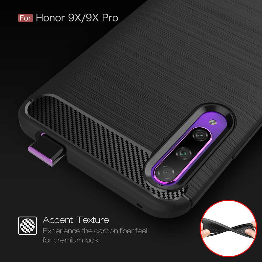 Carbon Fiber Coque Cover 6.59For Huawei Honor 9X Pro Case For Huawei Honor 9X Honor9X Pro Phone Back Coque Cover Case
