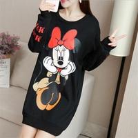 Streetwear Autumn Thin Long Sleeve Dress Minnie Mickey Cartoon Printed Dresses Plus Size M 5XL Casual Loose Women Short Dress
