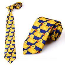 Мужской и Женский Забавный галстук с рисунком желтой утки, имитация шелка, вечерние деловые галстуки для костюма, одежда для шоу, свадебные аксессуары