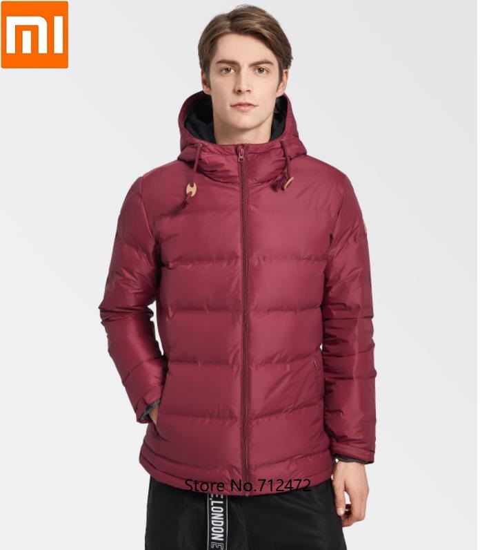 Xiaomi Men Fashion Thickening Hooded Down Jacket 80% Gray Duck Down Windproof Waterproof Luxury Warm Coat Outdoor Windbreaker