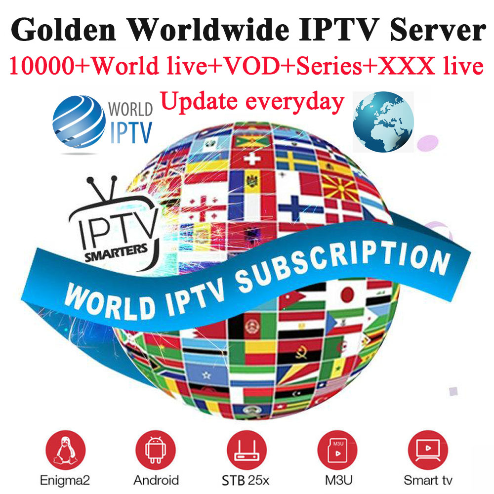 Golden World Iptv Subscription 10000+Live&vod With French Spanish English Sweden Canada Poland Belgium Dutch Arabic Israel Iptv