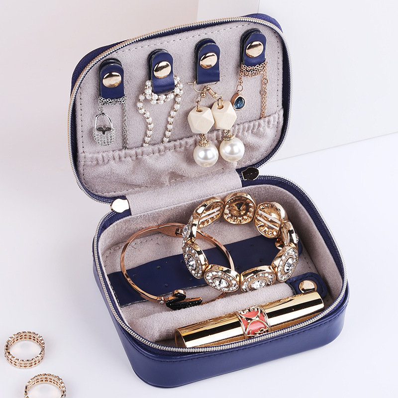 Mini Portable Travel Jewelry Organizer Earrings Nail Ring Necklace Bracelet Storage Box Makeup Storage Bag Accessories Supplies
