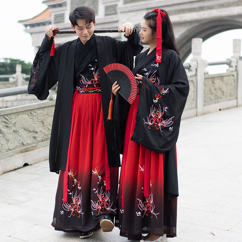 Chinese Couple Black Red Hanfu Female Retro Traditional Embroidery Costume Men Tang Dynasty Classical Stage Clothes DQL2593