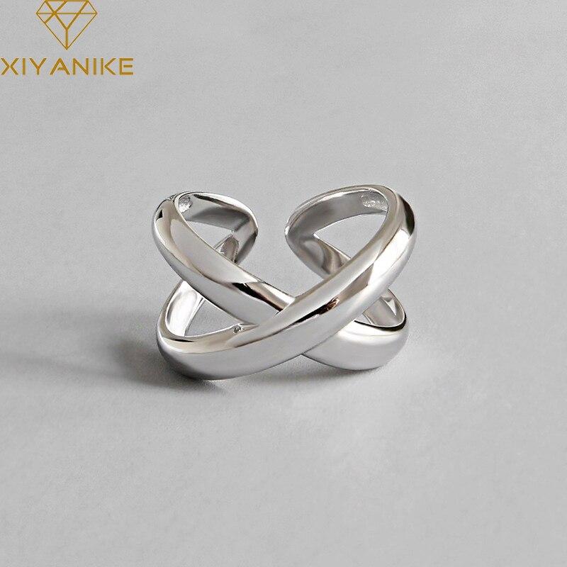 XIYANIKE 925 Sterling Silver Engagement Ring Trendy Simple Geometric Cross Handmade Jewelry For Men Women Size 16.9mm Adjustable