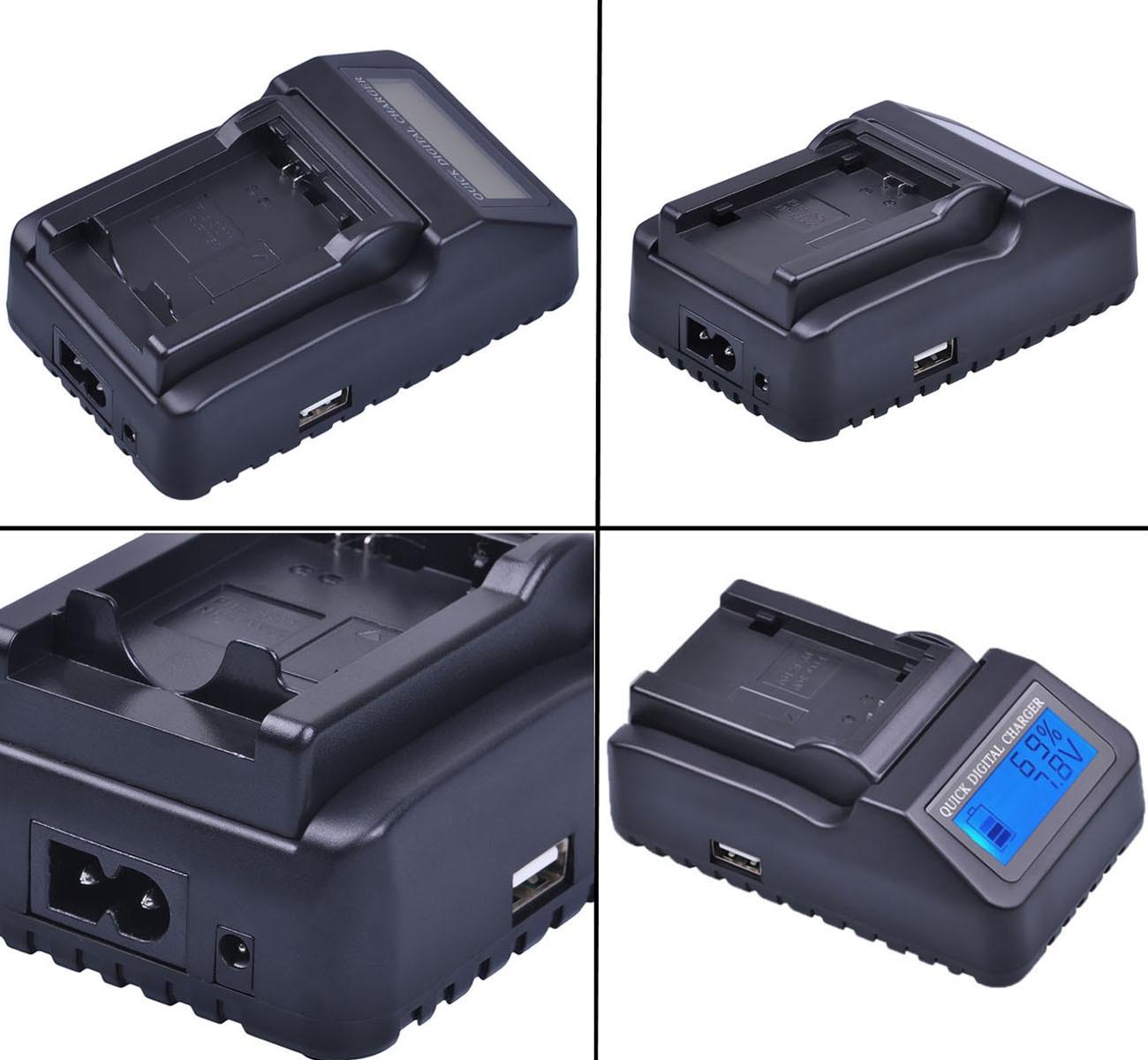LCD Quick Battery Charger for Panasonic AG-HMC151 AG-HMC151EJ Camcorder AG-HMC151E