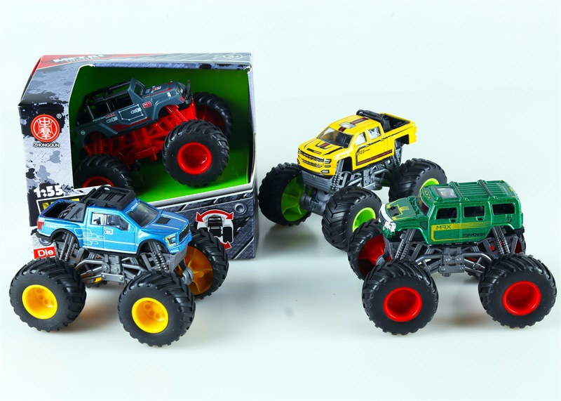 Children Four Wheel Drive Toy Model 4 Mixed Stunt Big Foot Car Model Toys Shock-resistant Anti-Throw