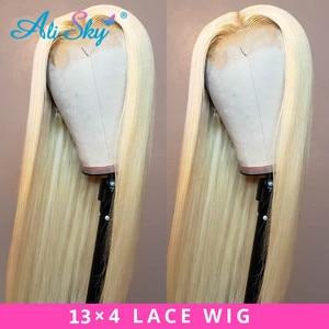 Image 2 - Alisky 613 perruque frontale préplumée miel Blonde dentelle avant perruque cheveux humains Remy brésilien droite pleine dentelle avant perruques de cheveux humains