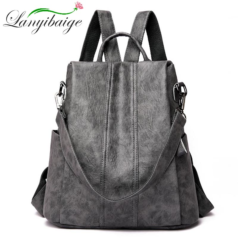 Hot Women Waterproof anti-theft Leather Backpacks Bags For Girls Female Shoulder Bag Multifunction Traveling Backpack Mochilas