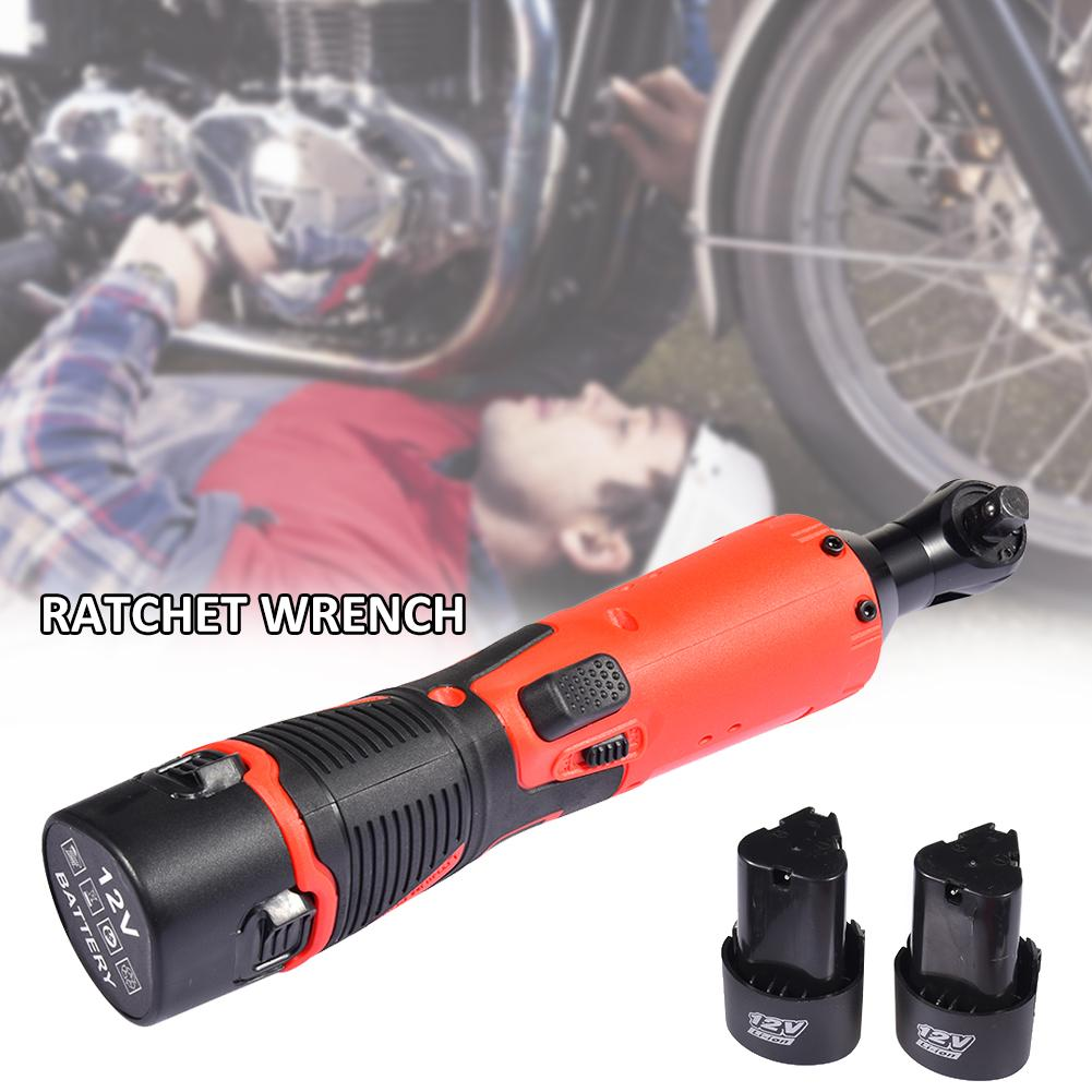 Electric Wrench 90 Degree Right Angle Electric Ratchet Wrench 2 12V Batteries Charger