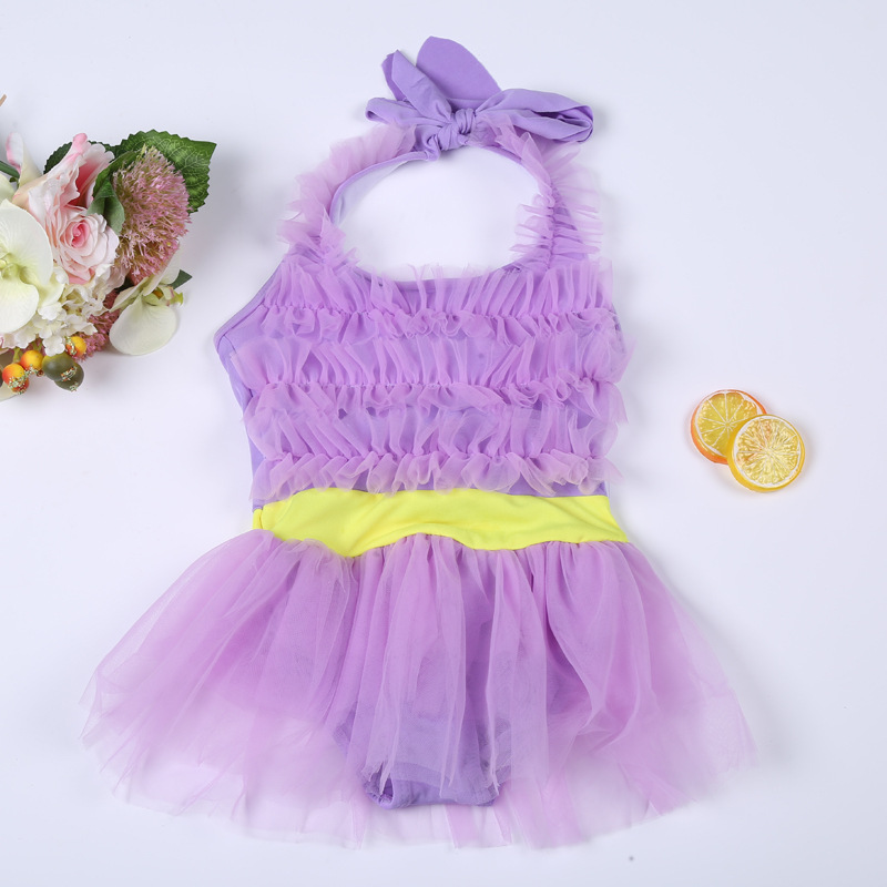 2019 New Style Children's Swimsuit Girls Small CHILDREN'S Swimsuit One-piece Swimsuit Lace-up Waist Children's Swimsuit