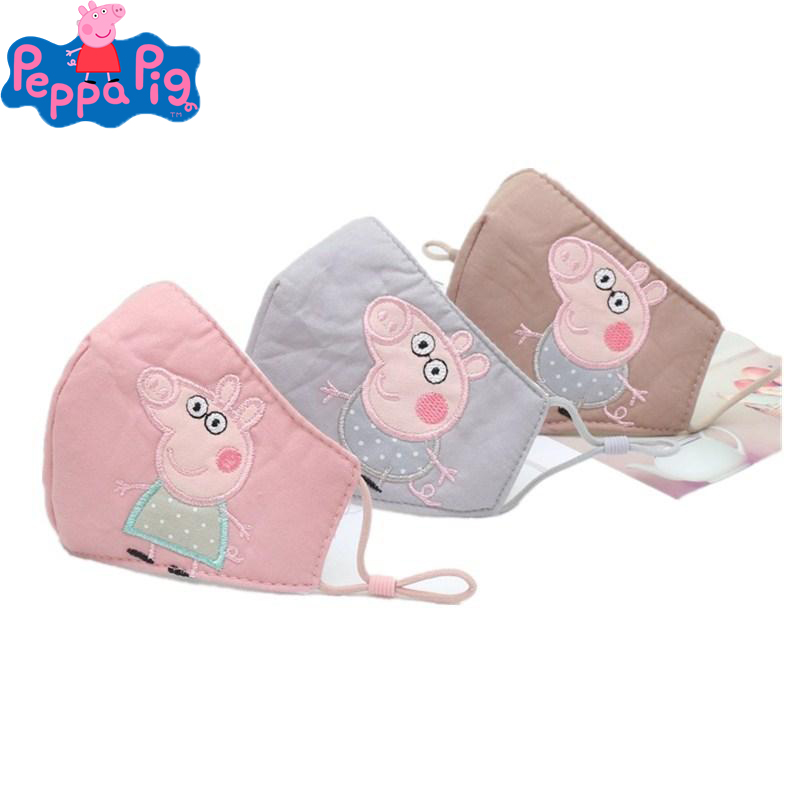 Original Peppa Pig Doll Toys Half Muffle Face Mask Kids Peppa Pig Dolls Cotton Dustproof Cartoon Mouth Masks Breathable Kid Gift
