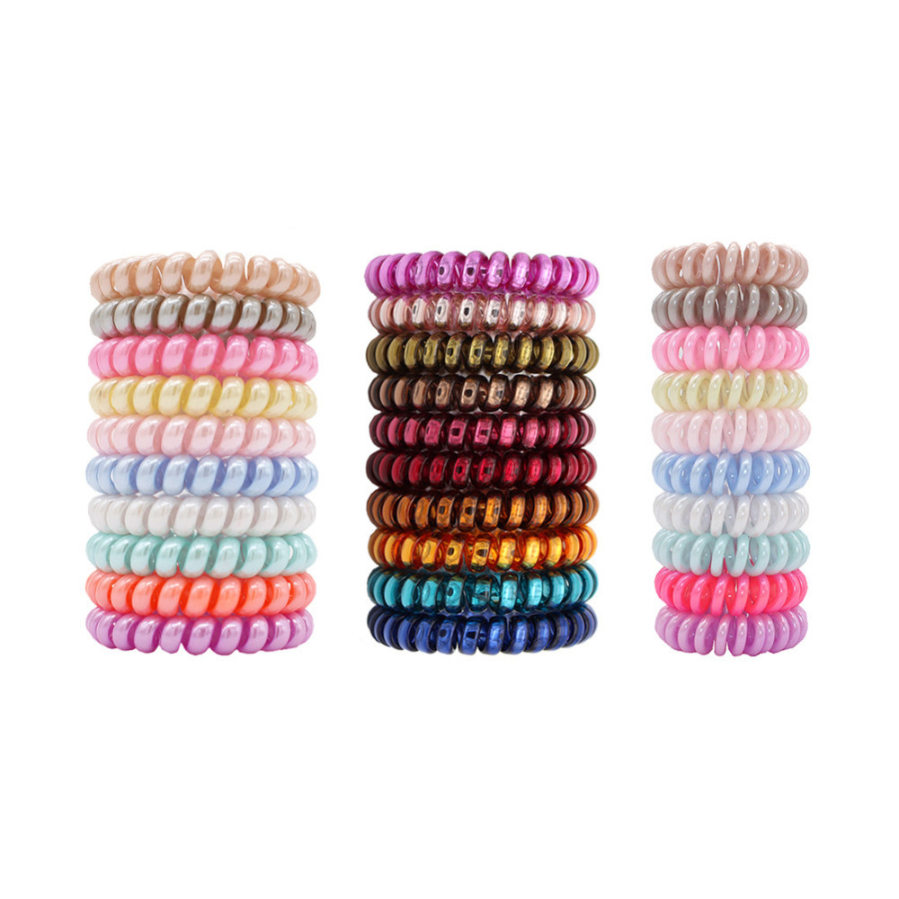 10pcs Top Fashion Ice Cream Colorful Spiral Spin Screw Telephone Wire Hair Ties Pearly Premium Plastic Rubbers Ponytails