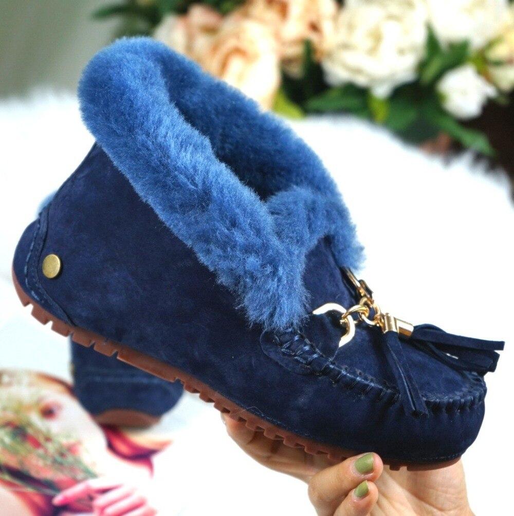 pele carneiro genuína mulher botas de neve
