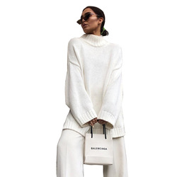 Autumn Winter 2019 Knitwear Pullover Sweater Women White Oversized Jumper Fashion Casual Turtleneck Basic Sweaters 5