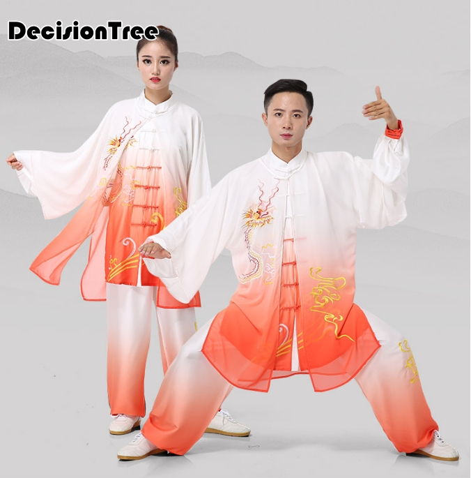 2019 Embroidery Dragon Chinese Men Women Martial Arts Performance Suit Leisure Shawls Jiu Wushu Kung Fu Uniform Tai Chi Suit