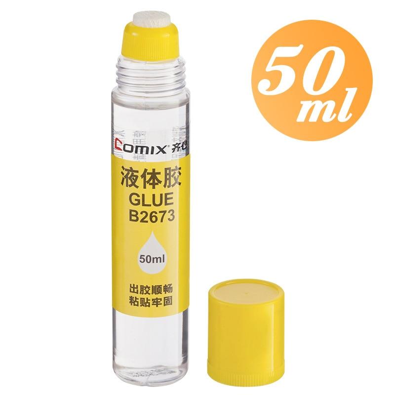 Comix B2673 Office Liquid Glue Students Handmade Glue Transparent 50ml Sponge Head Glue Stationary Glue