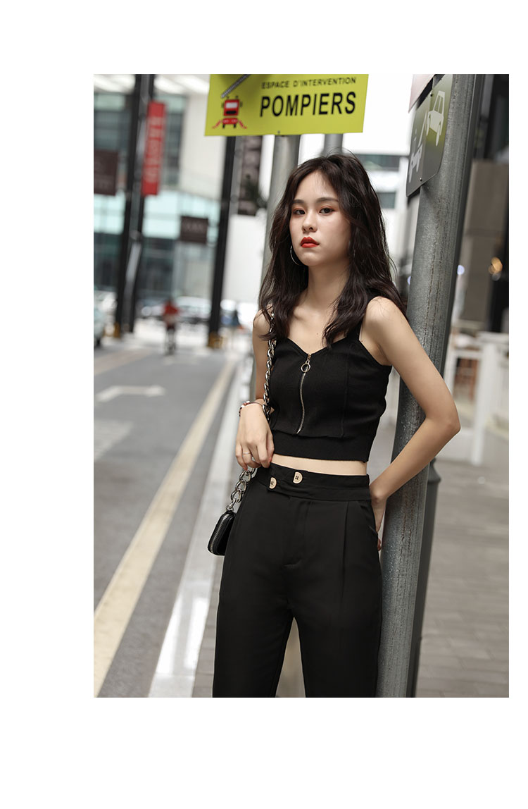 Hd5f9d93eb05346f880f3107f8db77d19M - HELIAR Tops Women Crop Top Club Sexy Zipper Knitting Camisole With Hole Female Tank Tops Ladies Sleeveless Solid Strap Top Women