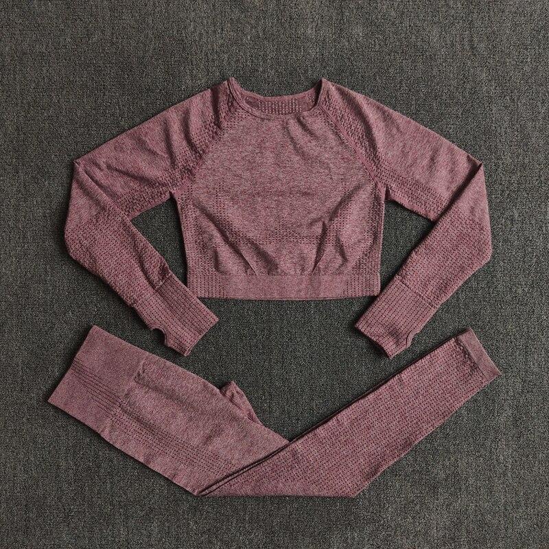 ShirtsPantsWine - Women Seamless Yoga Set Fitness Sports Suits
