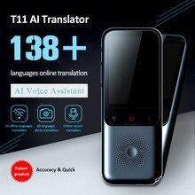 Portable 138 idiomas t11 tradutor de voz inteligente em tempo real multi-idioma discurso interativo offline tradutor viagem de negócios