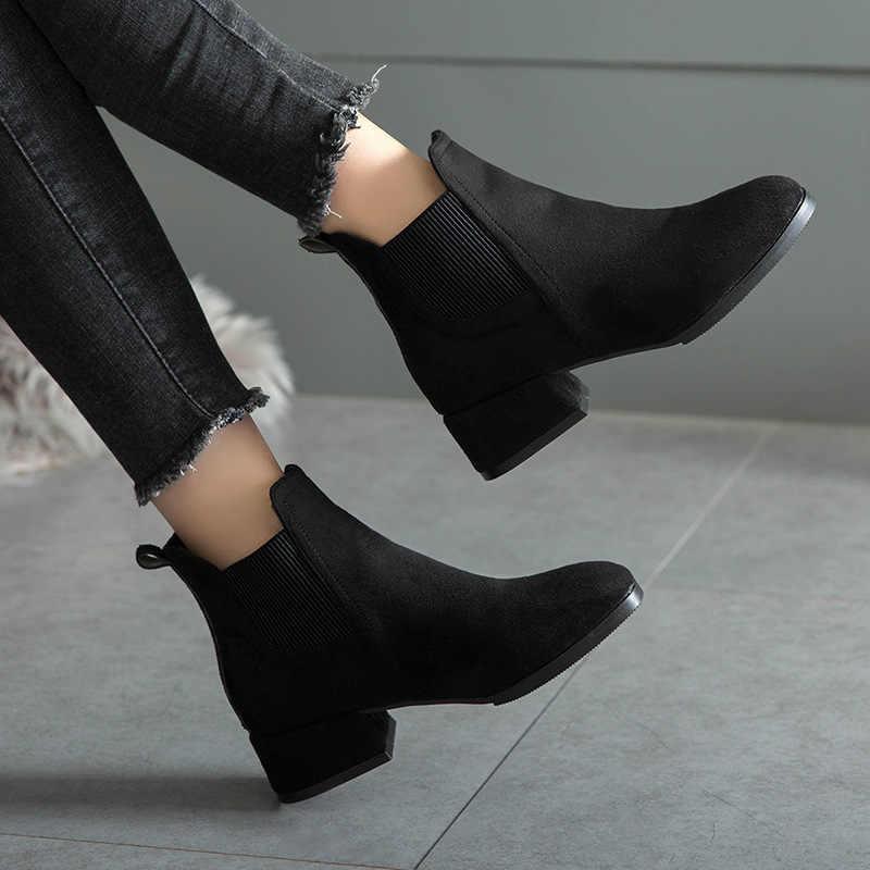 Kışlık Botlar kadınlar 2019 Siyah yarım çizmeler Kadınlar Için Kalın Topuk Bayanlar Üzerinde Kayma Ayakkabı Botları Bota Feminina