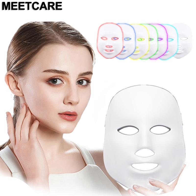 Facial LED 7 Colors Light Mask Skin Care Tool Beauty LED Mask Phototherapy Wrinkle Acne Removal Whitening Rejuvenation New