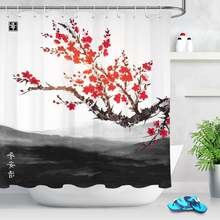 Китайский стиль Сливовый цветок занавеска для душа ванной Водонепроницаемый