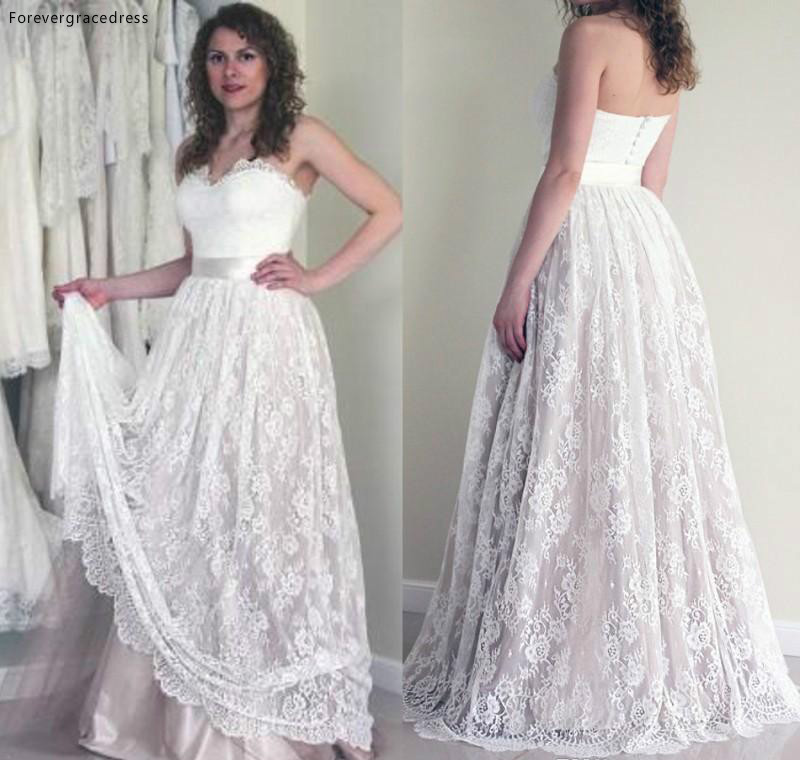 Full Lace Summer Boho Wedding Dress Vintage A Line Sleeveless Backless Reception Bridal Gown Custom Made Plus Size