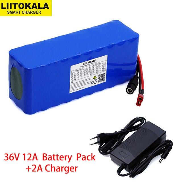 Умное устройство для зарядки никель металлогидридных аккумуляторов от компании Liitokala: 36V 12Ah 18650 Литий Батарея нагрудная сумка высокого Мощность 12000 мА/ч, мотоцикл электромобиль велосипед Скутер с BMS + 2A Зарядное устройство