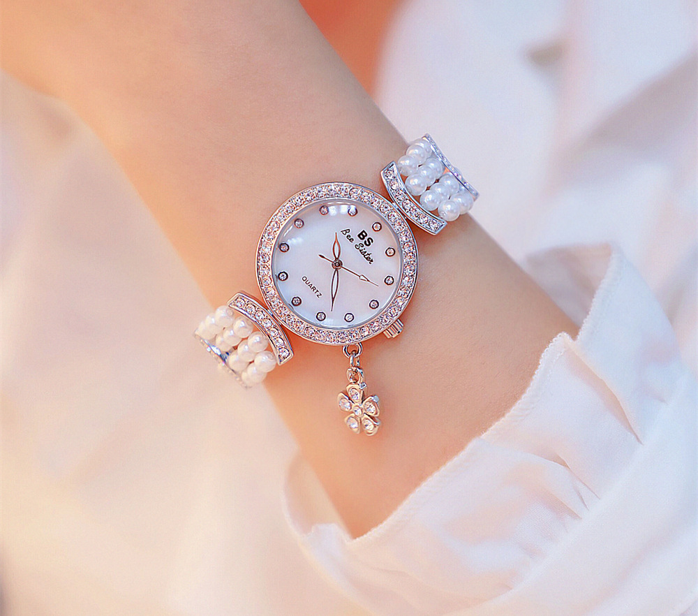 Relogio diamante relógios das mulheres quatro folhas