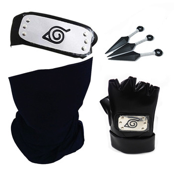 Naruto Hatake Kakashi Cosplay Gloves Mask Headband Anime Accessories Kunai Notebook Konohagakurenosato Sign Props Gift Fans Toy image