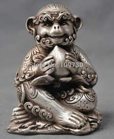 משלוח חינם <<<<5 ''סין כסף ברונזה פנג שואי גלגל המזלות קוף המשמח ברונזה פסל